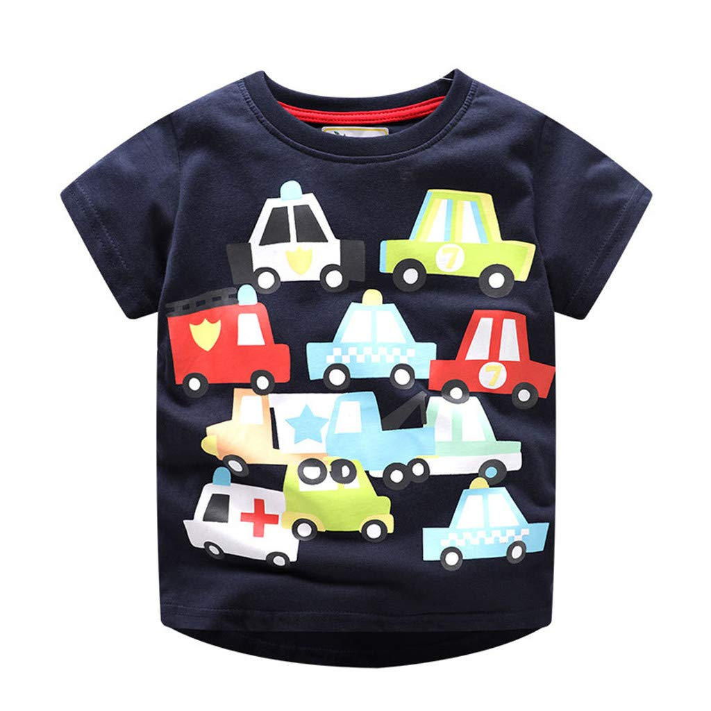 Lavany Little Boys Shirts Cartoon Car Printed Short Sleeve Clothes Tee for Baby Navy