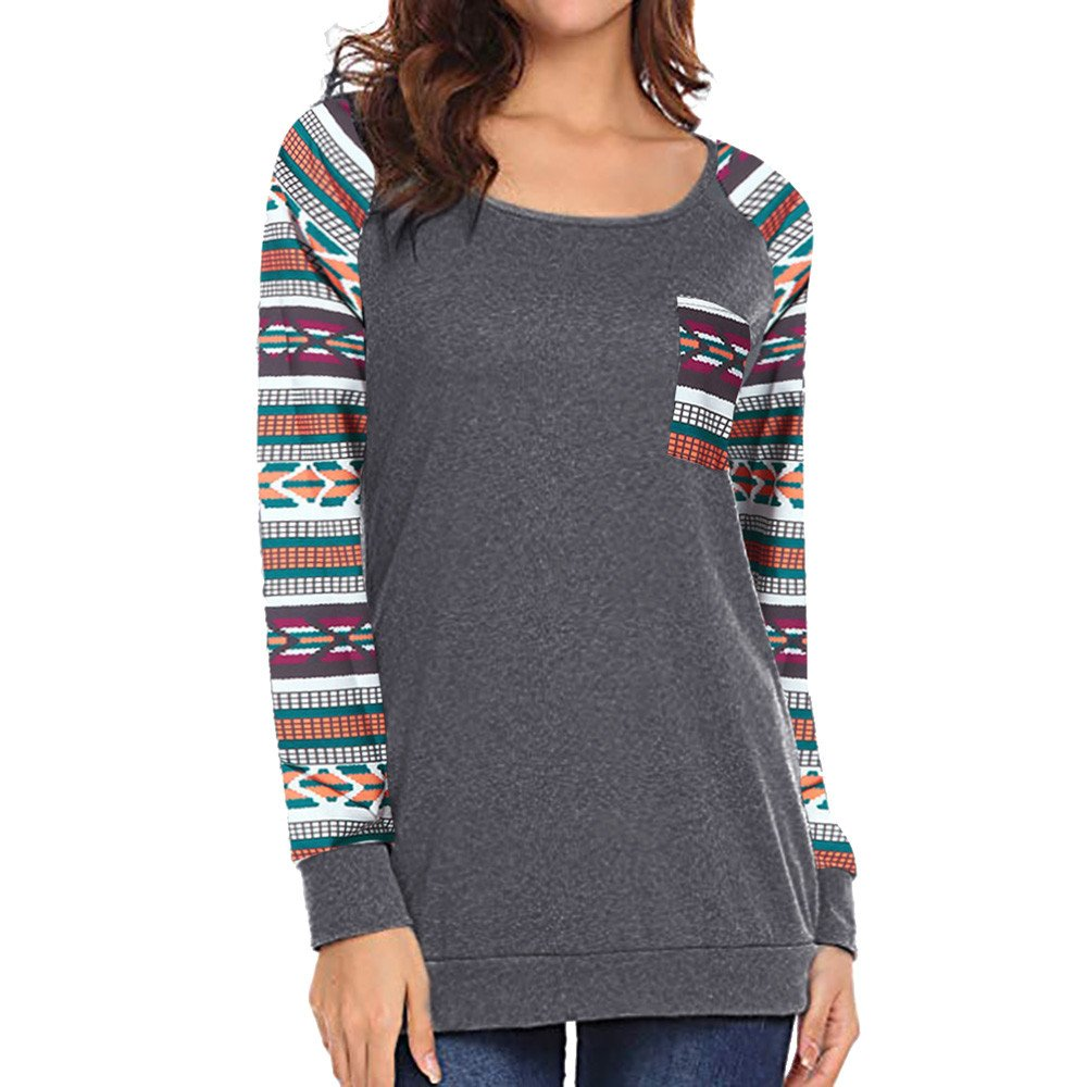 Women's Blouse,❤️❤️ ZTY66 Casual Print Long Sleeve Pocket T Shirt Color Block Blouses and Tunic Tops (XL, Gray)