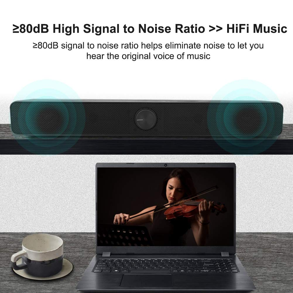 2.0 Channel Bluetooth Speaker with Heavy Bass Stereo Sound Home Theatre Soundbar /≥80dB HiFi Sound Soundbar with Subwoofer Zerone TV Soundbar