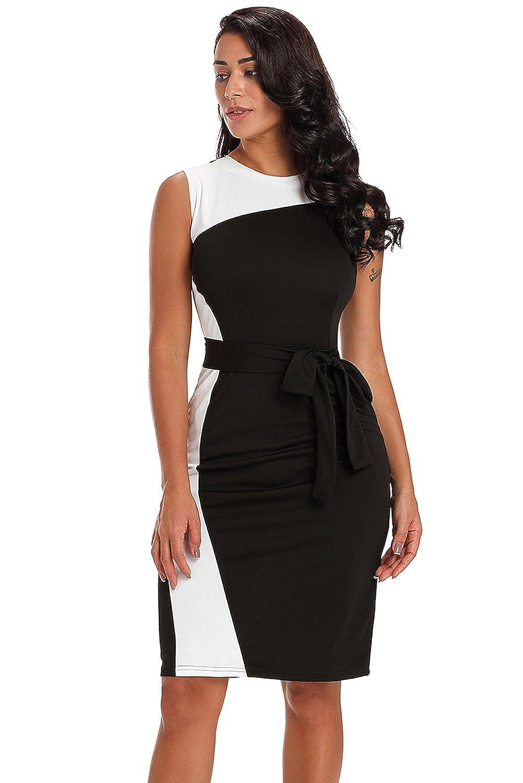 Boldgal Womens One Piece Sheath Sleeveless Patchwork Belted Dress