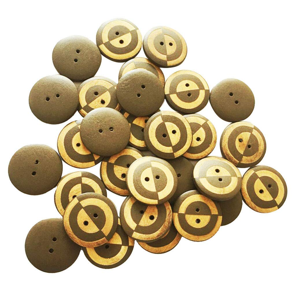 30pcs Round Wood Wooden Buttons Brown 2 Hole Buttons DIY Sewing Crafts 23mm
