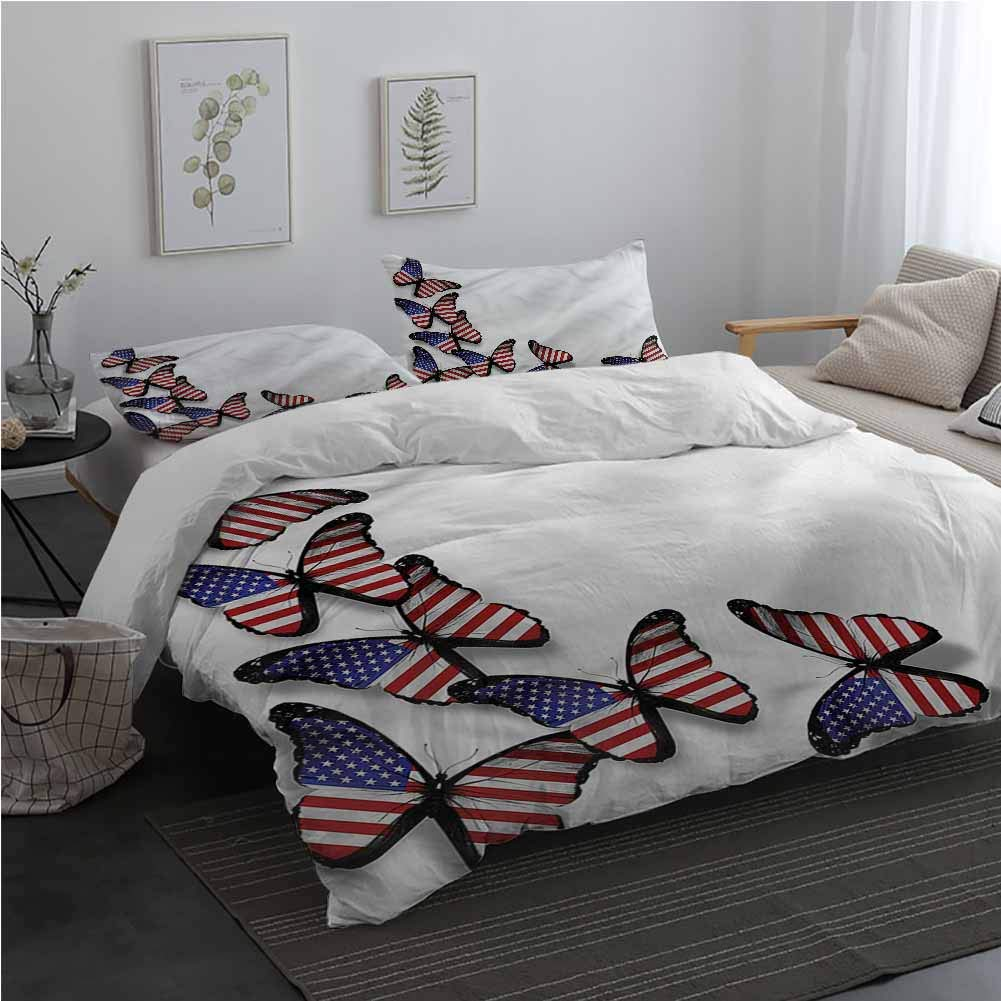AndyTours Americana 3 Piece Bedding Sets with Zipper Closure Flag Flying Butterflies Bedding Set for Men, Women, Boys and Girls California King