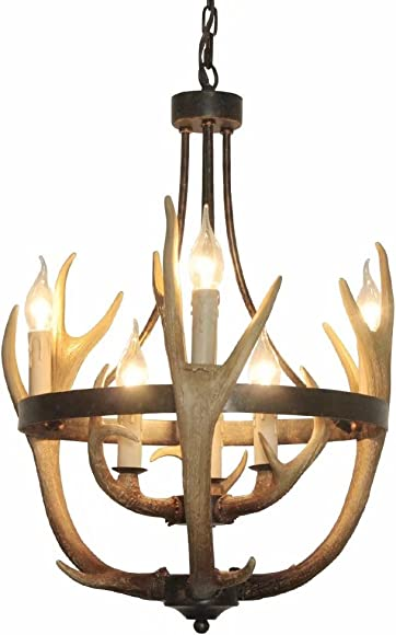 EFFORTINC Resin Antler Chandeliers 6 Light 19.7 Diameter X 24 Tall with 4 Feet Matching Chain Bulbs Not Included