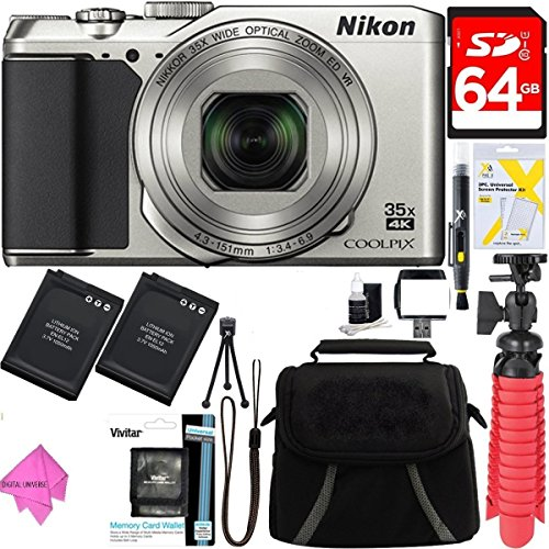 Nikon A900 20MP Longest Slim Zoom COOLPIX WiFi Digital Camera with 4K UHD Video 35x Telephoto NIKKOR Zoom Lens + 64GB Dual Battery Accessory Bundle (Silver) by DigitalUniverse