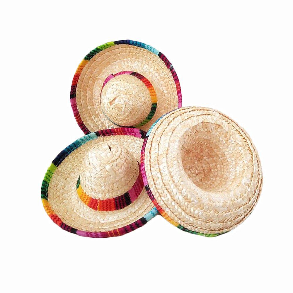 Crazy Night Natural Straw Mini Sombrero New Design Mini Mexican Hat ... ef186a87944