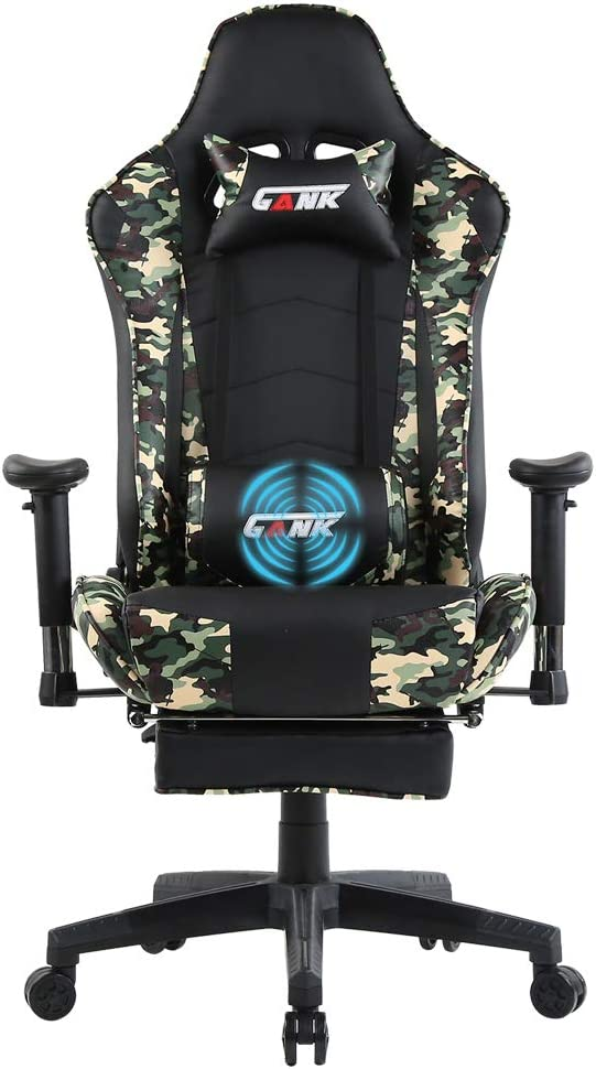GANK Gaming Chair Large Size Racing Office Computer Chair High Back PU Leather Swivel Chair with Adjustable Massage Lumbar Support and Footrest ...