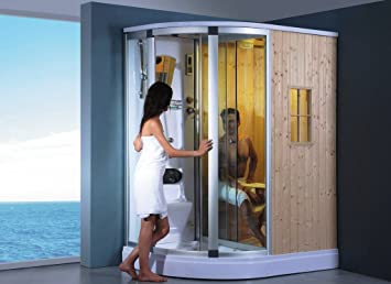 Deluxe Wet and Dry Shower Sauna Combo System, with Sauna Cabin