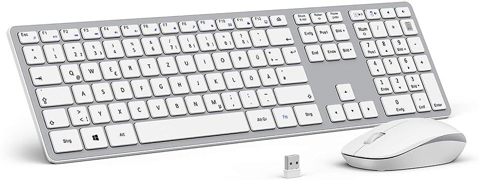 OMOTON juego de teclado y mouse de radio inalámbrico, [2.4 GHz] para PC con Windows / Laptop / Smart TV, diseño alemán QWERTZ