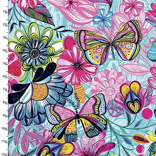 3 Wishes Fabric 3 Wishes Magic Garden Magic Butterflies Turquoise Fabric Fabric by the Yard
