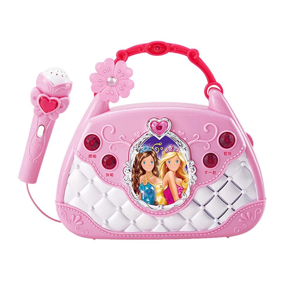 NUOBESTY Kinder täuschen vor, Spielen Karaoke-Player tragbare musikalische Tasche mit Mikrofon ohne Batterie