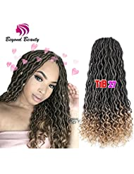 Wavy Faux Locs Crochet Hair Curly Ends Synthetic Braiding Goddess Hair Extensions 6Pcs/Lot. (1B-27)