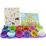 Resurrection Pre Filled / Fillable Easter Eggs with Booklet, Figurines, & Stickers -Tells Full Story of Easter -Multicolor, 12 Piece Set