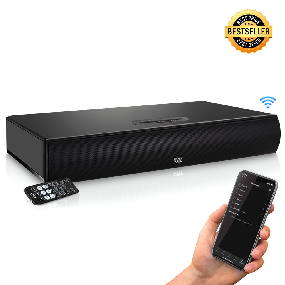 Pyle TV Soundbar Soundbase Bluetooth - Upgraded 2018 Wireless Surround Sound System for TV's With Built-in Subwoofer, Remote Control, AUX RCA Optical Digital Inputs for TV PC - PSBV600BT by Pyle