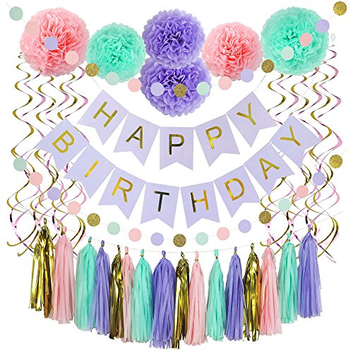 37 Piece Happy Birthday Banner, Party Decorations Set in Pink, Gold, Purple & Mint Colors Birthday Decor