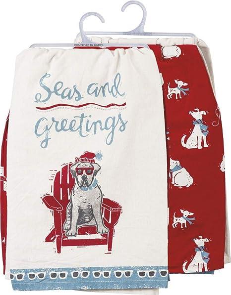 Amazon Com Primitives By Kathy Beach Holiday Dish Towel Set Seas Greetings Home Kitchen