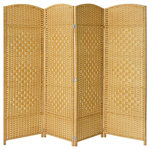 HOKEEPER Room Dividers and Folding Privacy Screens 4 Panel, Freestanding Room Dividers with Diamond Pattern for Screens to Decorate Home or Office