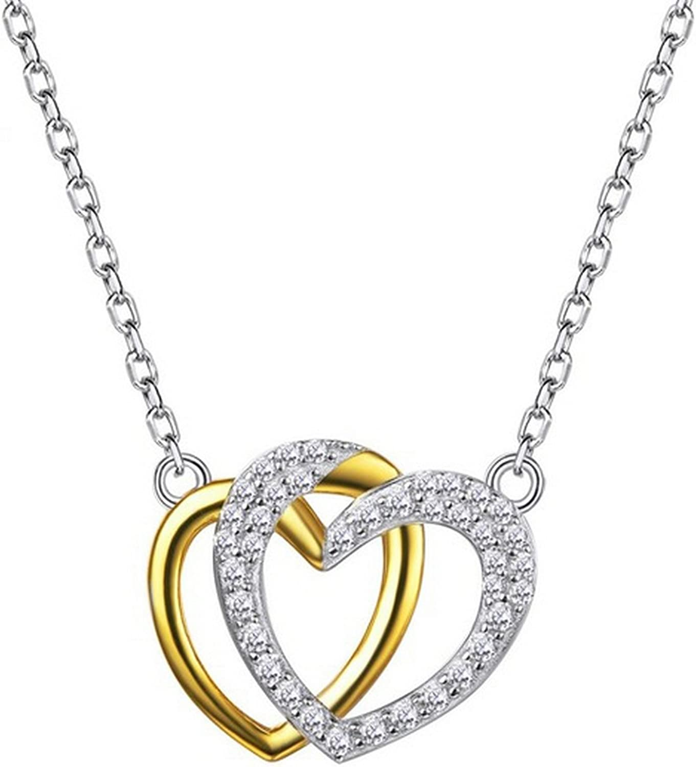 CS-DB Jewelry Silver Chain with CZ Chain Charm Pendants Necklaces