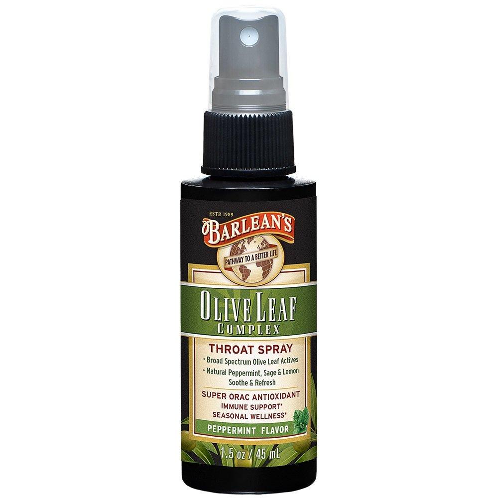 Barlean's, Fresh Olive Leaf Complex, Throat Spray, Soothing Peppermint Flavor, 1.5 oz (44.4 ml) - 2pc