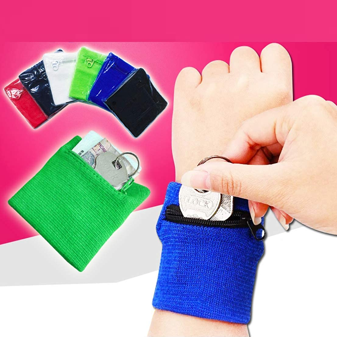 Chris.W 3Pairs Sports Wristband Zipper Sweatband Wrist Wallet Key Pocket for Women Men Running Cycling Jogging and Other Sports