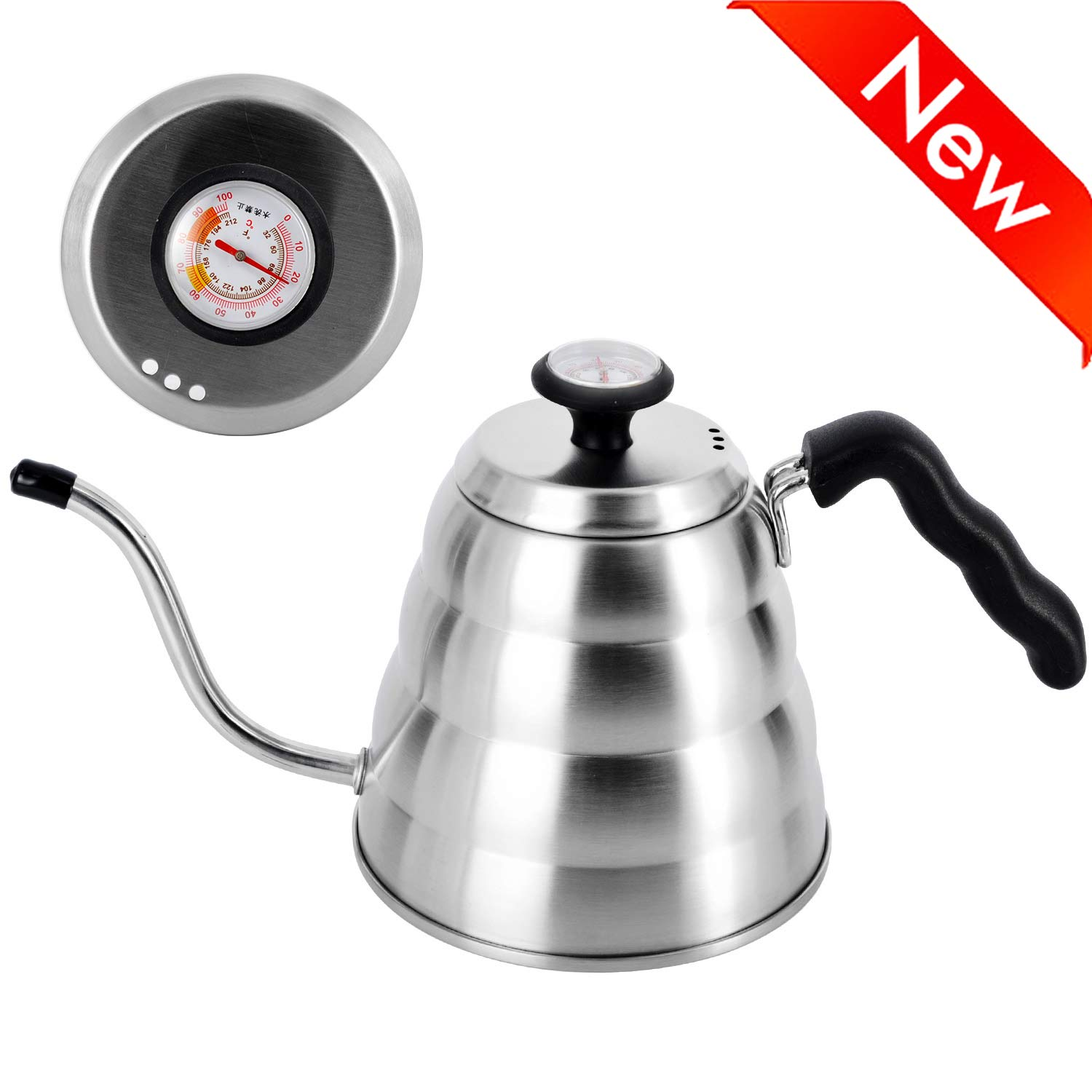 Pour Over Coffee Kettle with Exact Thermometer,Naturous Gooseneck Kettle Tea Kettle for Drip Coffee and Tea 1.2 Liter 40 fl oz