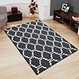 Superior Moroccan Lattice Wool Rug, 100% Wool Pile with Cotton Backing, Hand Hooked & Hand Tufted Luxury Rug, Geometric Trellis Pattern - Grey & Ivory, 5' x 8'