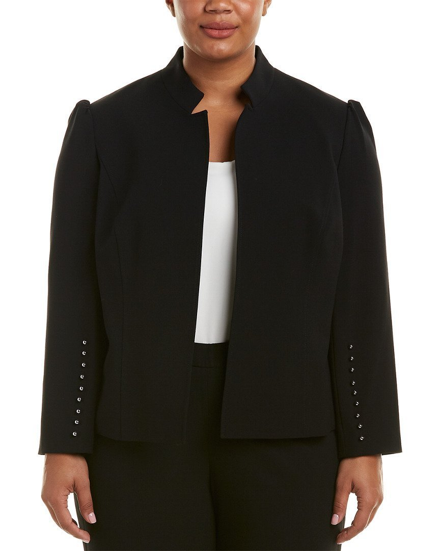 Tahari by Arthur S. Levine Women's Plus Size Bi-Stretch Pant Suit with Long Sleeve Buttoned Cuffs, Black, 14W