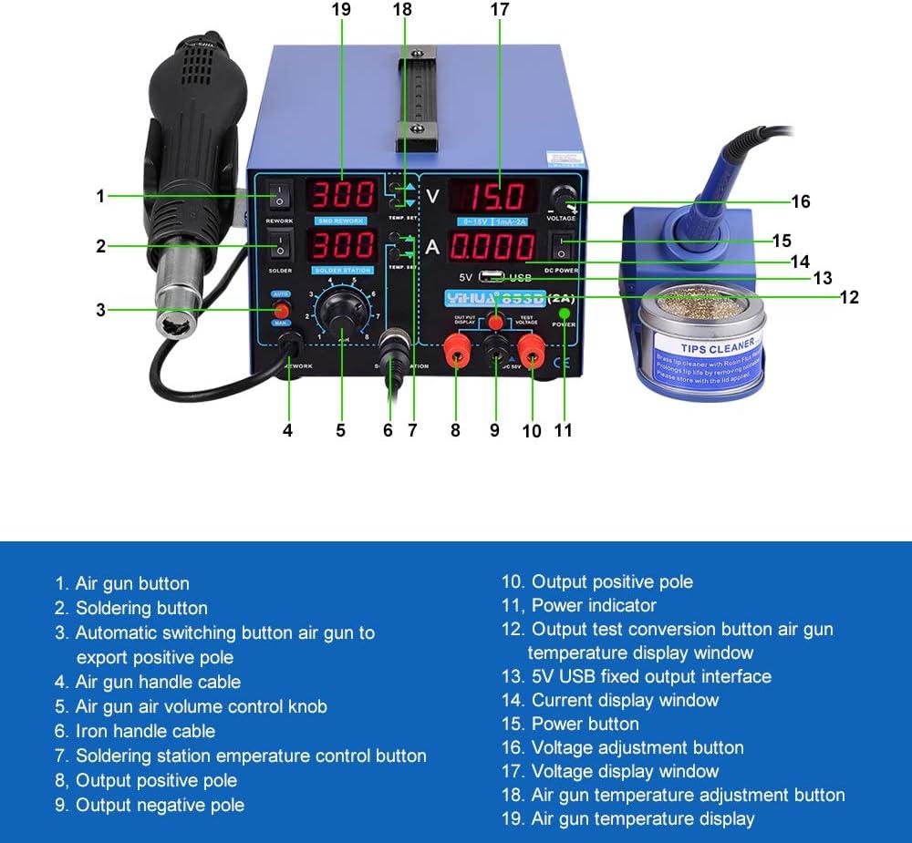 3in1 Lötkolben 765W Lötstation Heißluft Löten Entlöten Labornetzgerät SMD Rework