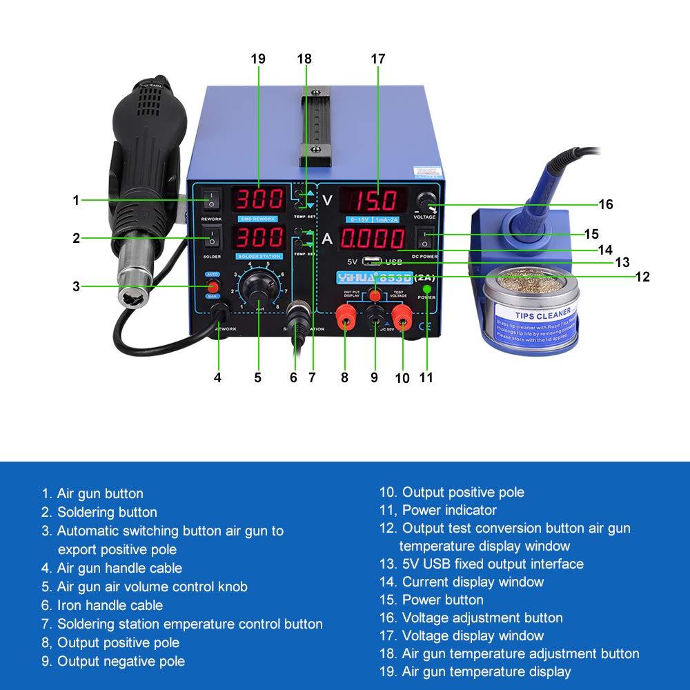 Estacion de soldadura digital 3 en 1 SMD Kit del Soldador Eléctrico con pistola de aire USB 853D 2A: Amazon.es: Bricolaje y herramientas