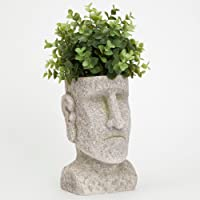 Bits and Pieces Indoor/Outdoor Easter Island Statue Planter - Urn for Plants - Durable Polyresin Sculpture
