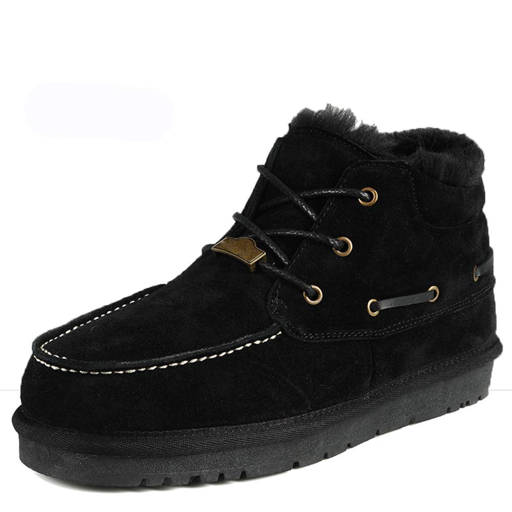 Qiusa Pelz gefütterte Outdoor Schnürstiefel für Männer aus echtem Leder Rutschfeste atmungsaktive Stiefel (Farbe   Schwarz, Größe   EU 46)