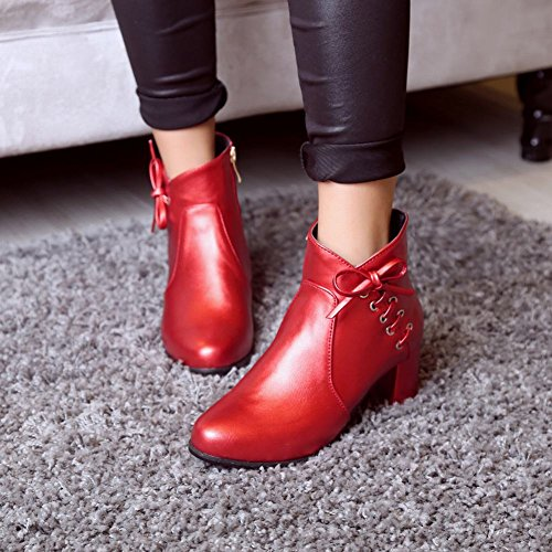 Latasa Womens Fashion Chunky Heels Fall Ankle Boots With Zipper Red wIwbYF5EE