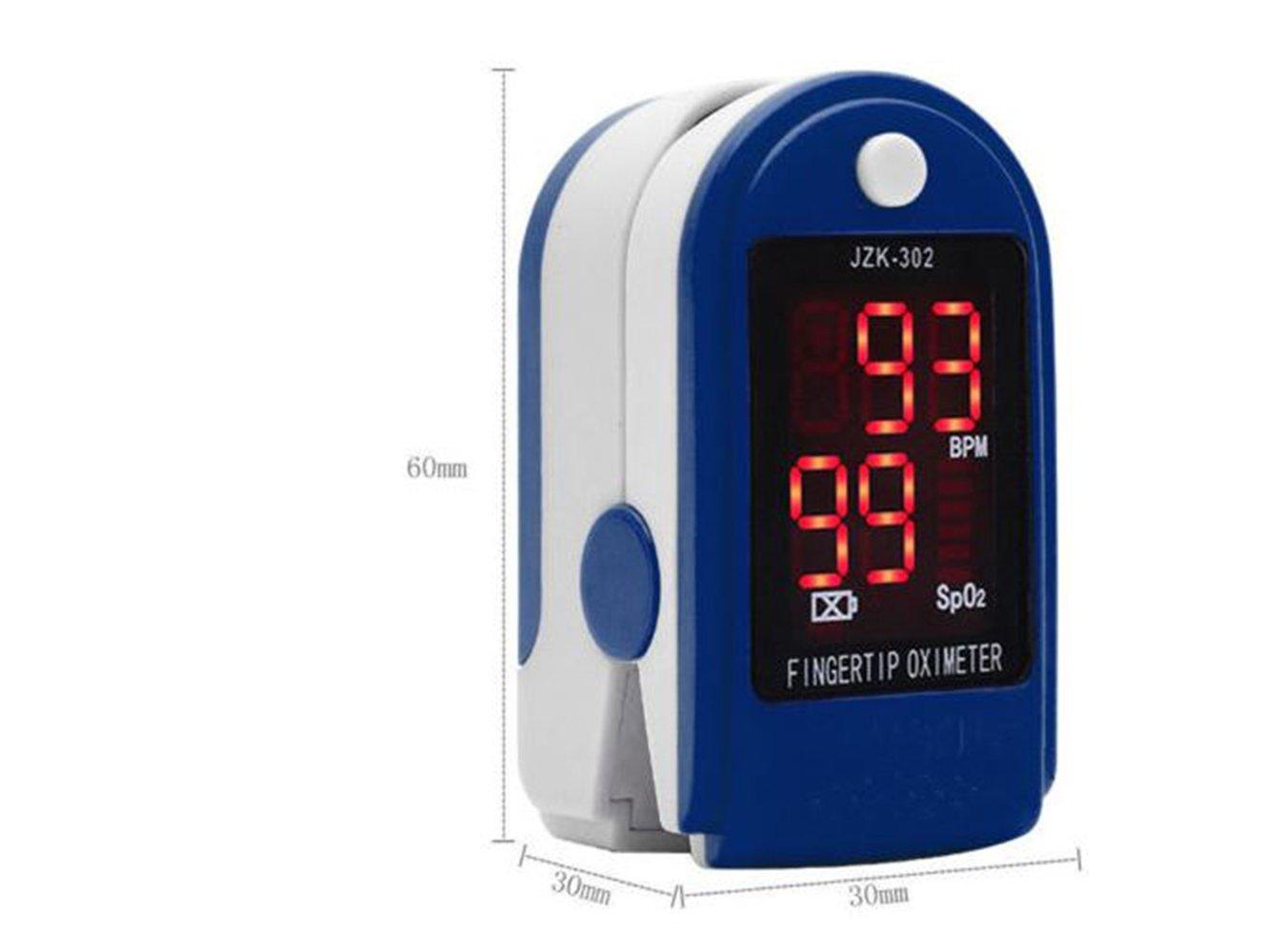 Finger Tip Pulse Oximeter Sensor Blood Oxygen Level SPO2 Monitor PR Heart Rate (Blue)
