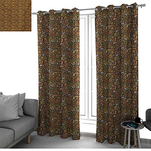 German Fit Window Curtain Assorted Colors, Styles & Sizes Cartoon Style Cute Deutschland Pattern with Flag Hops and Pretzels Hand Drawn Doodle curtain living room Multicolor W108 x L108 Inch (Versace Deutschland)