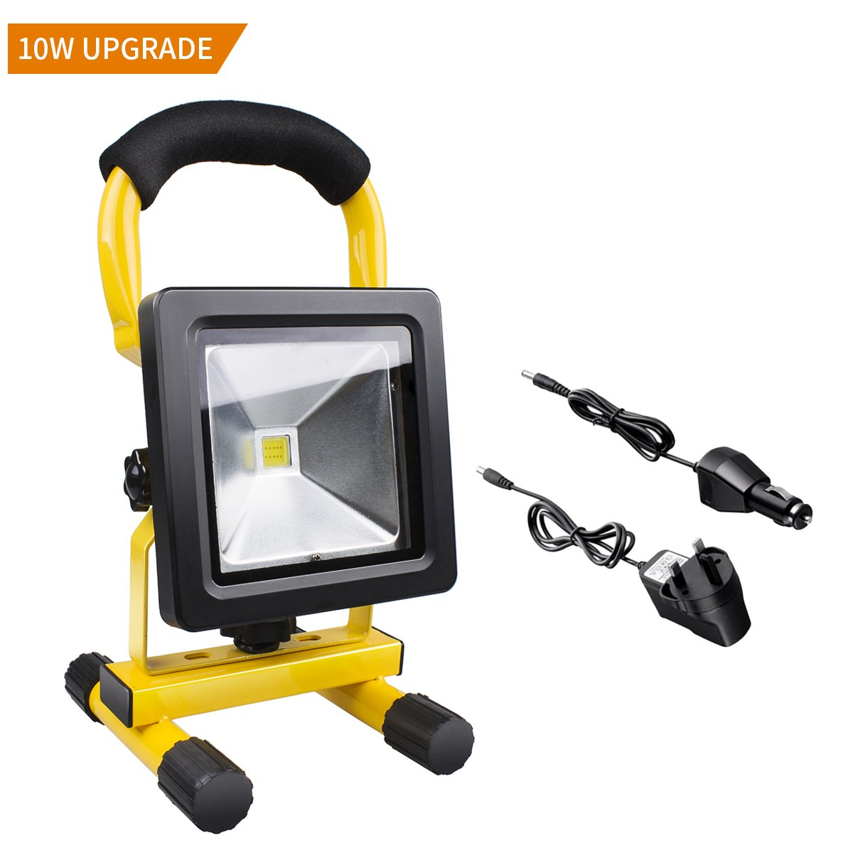 10W Led Work Light Rechargeable, Portable Flood Light - 4400mA IP65 Waterproof Spotlight Light, Morpilot 700lm Outdoor Emergency Hand Work Lamp (Adapter and Car Charger Included) 2361001