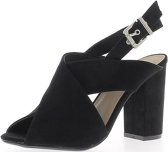 Sandales Look Daim Noires à Talon carré de 10 cm: