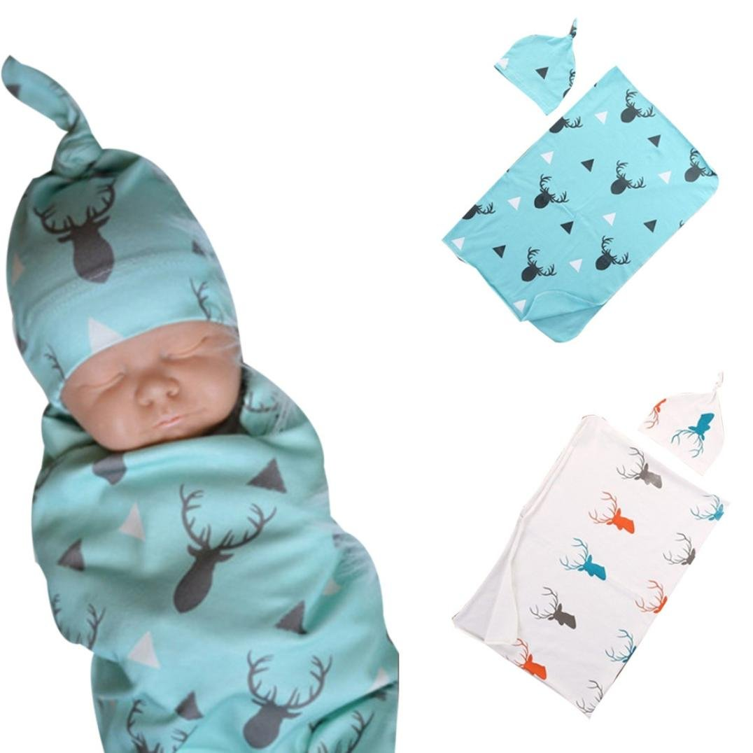 FEITONG Lovely Soft Baby Swaddling Blanket+ Headband Set (Blue)