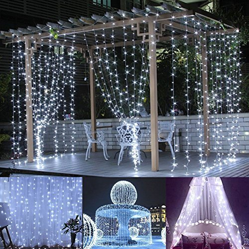DecalGalore String Lights 304 LEDs Icicle Window Night Light LED Curtain Fairy Lights,8 Modes, Christmas Wedding Party Outdoor Decor Rope Lighting 9.8x9.8ft(118in118in) (White)