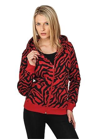 À Femme Pour Ziphoody Rouge Capuche Urban Classics Sweat Shirt Zebra 43jLA5Rq