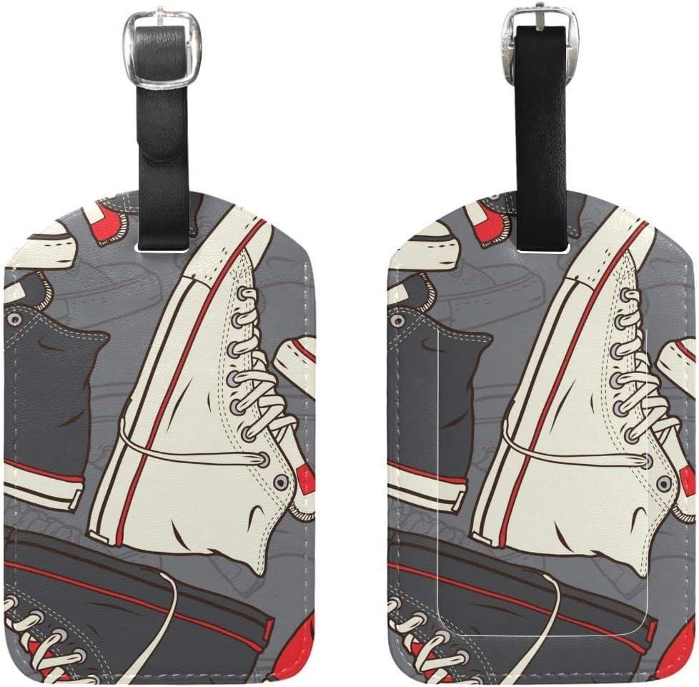 Zapatillas de Deporte Retro Etiqueta de Equipaje PU Bolsa de Cuero Maleta de Viaje Etiqueta de Equipaje Juego de 2 Piezas: Amazon.es: Equipaje