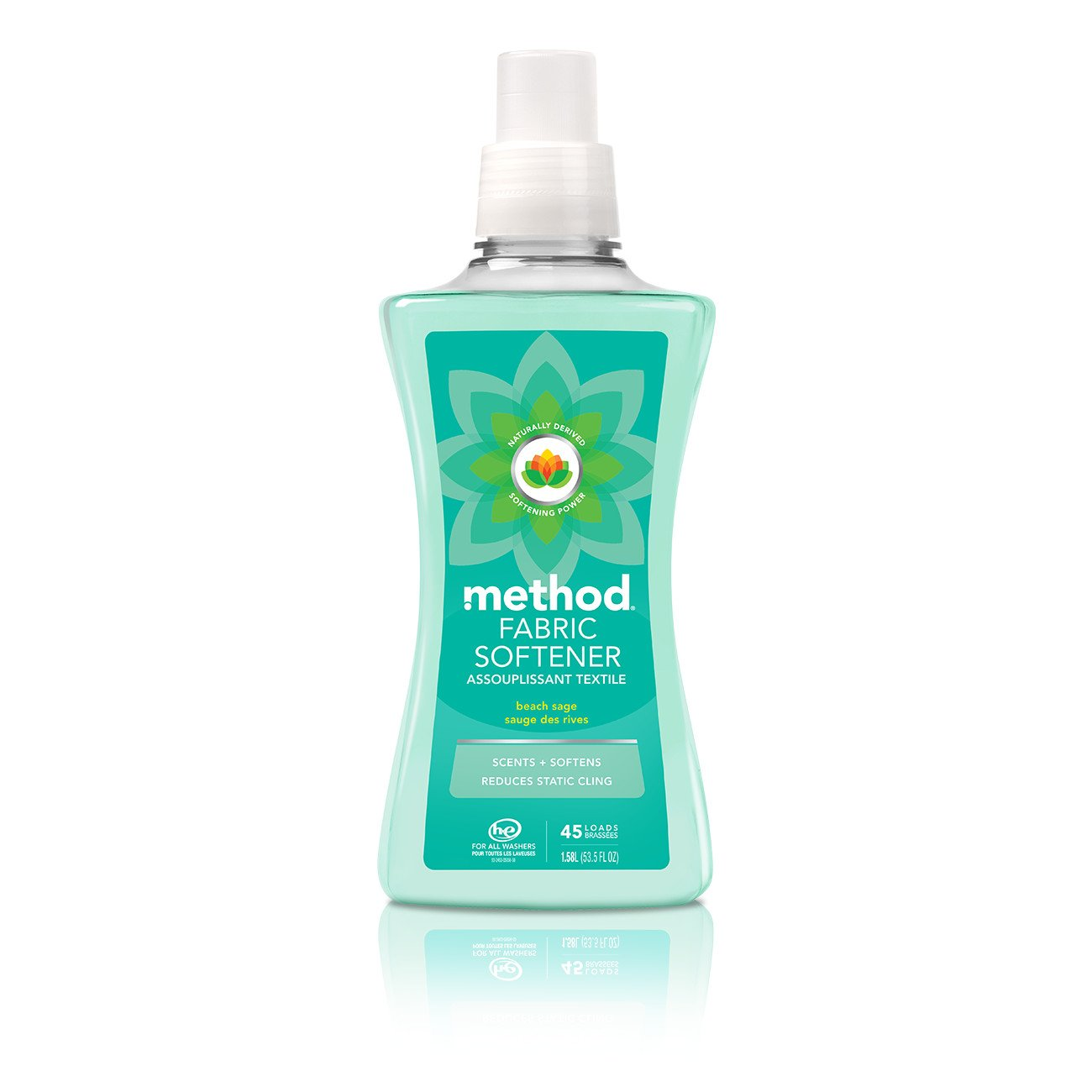 Method Fabric Softener, Beach Sage, 53.5 Ounce, 45 Loads (4 Count)
