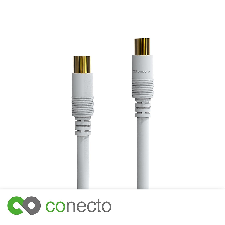 conecto HQ TV Cable de Antena Cable de conexión - para DVB-C, DVB-T/T2 - 4 K UHD 1080P Full HD HDTV 3D - (Cable Coaxial, TV - Conector de TV Hembra, ...
