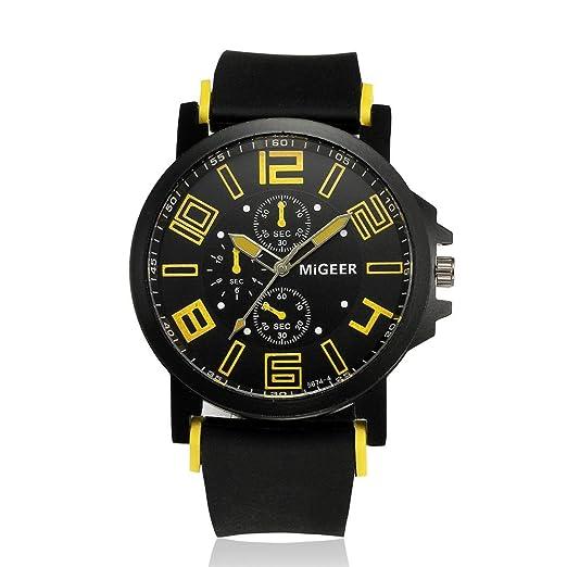Relojes Hombres, Magiyard Hombres Correa de silicona Sport Quartz Horas Antorcha reloj de pulsera (Amarillo): Amazon.es: Relojes