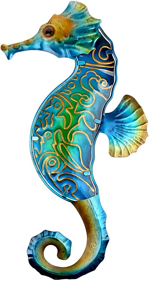 John's Studio Metal Seahorse Wall Decor Bathroom Glass Art Iron Sculpture Outdoor Blue Hanging Decoration for Home Bedroom Garden Patio Porch or Fence