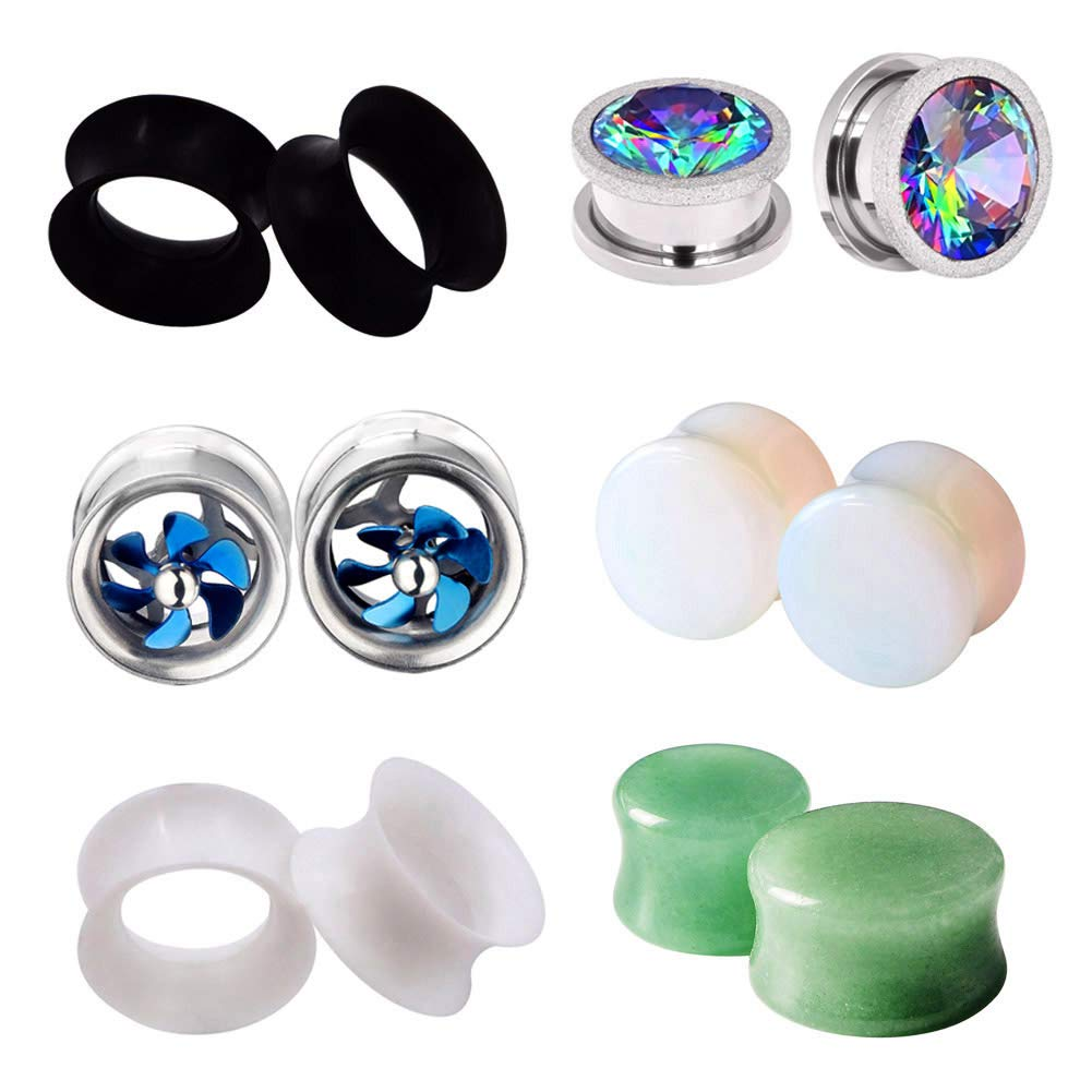 PHD LTD 6Pairs Mix Set Silicone Stainless Steel Stone Women Men Ear Tunnels Piercing Plugs Stretcher Expander Gauges Gauge 5/8'' 16mm by PHD LTD