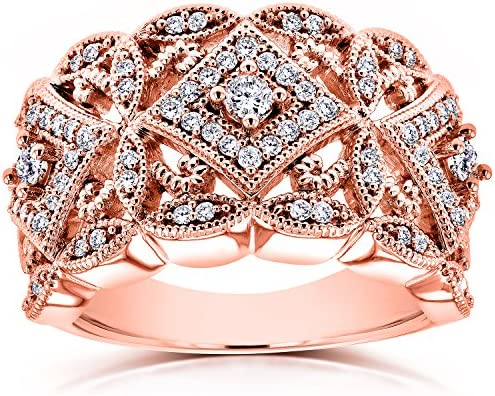 Kobelli Diamond Antique Filigree Wide Anniversary Ring 1/2 CTW in 10K Rose Gold