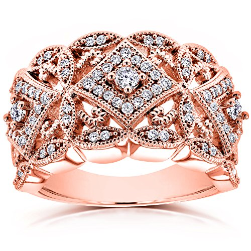 Kobelli Diamond Antique Filigree Wide Anniversary Ring 1/2 CTW in 10K Rose Gold, Size 5.5