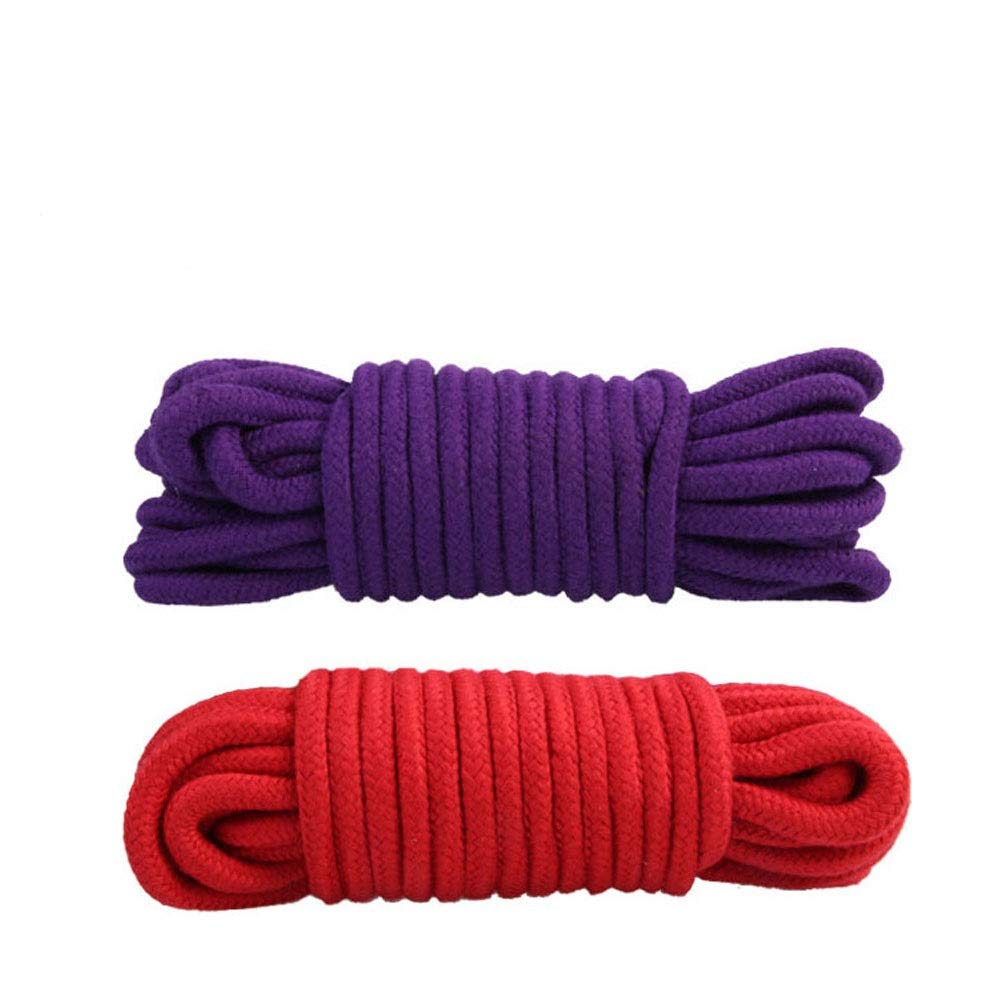 SYSI Cuerdas de Algodón Multipropósito Suave, 10m Cuerda de Acampada Cuerda de algodón, Gruesa Trenzada de algodón para Jardines, Barcos, Mascotas, Cuerda de Escalada, Cuerdas Multiusos (Púrpura+Rojo)