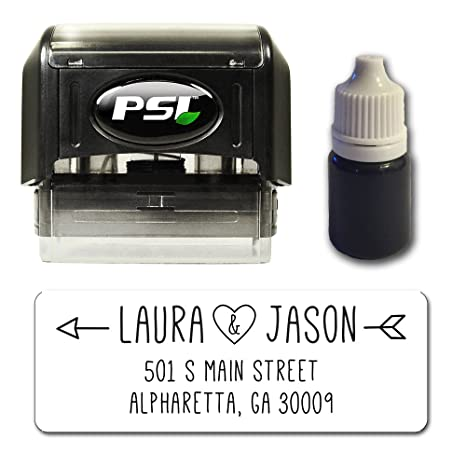 d6bbfd683286a Love Arrow Personalized Self Inking Return Address Stamp Bundle with Refill  Ink and 100 Matching Address Label Stickers
