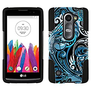 LG Tribute 2 Hybrid Case Abstract Swirled Sades of Blue on Black 2 Piece Style Silicone Case Cover with Stand for LG Tribute 2