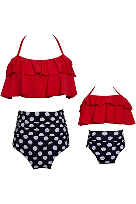 ICOOLTECH Womens High Waist Bikini Family Matching Swimwear Mother Girl Swimsuit Red-Women, XL